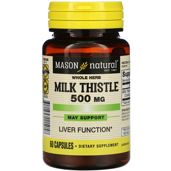 Whole Herb Milk Thistle, 500 mg, 60 Capsules