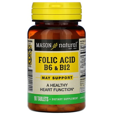 Купить Mason Natural Фолиевая кислота, B6 и B12, 90 таблеток