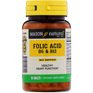 Mason Natural, Folic Acid B-6 & B-12, 90 Tablets