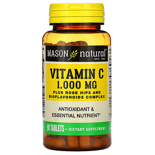 Mason Natural, فيتامين جـ، 1,000 ملجم، 90 قرص