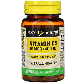 Mason Natural, Vitamin D3, 10 mcg (400 IU), 100 Softgels