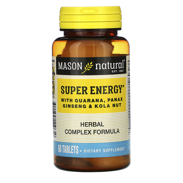 Mason Natural, Super Energy with Guarana, Panax Ginseng & Kola Nut, 60 Tablets