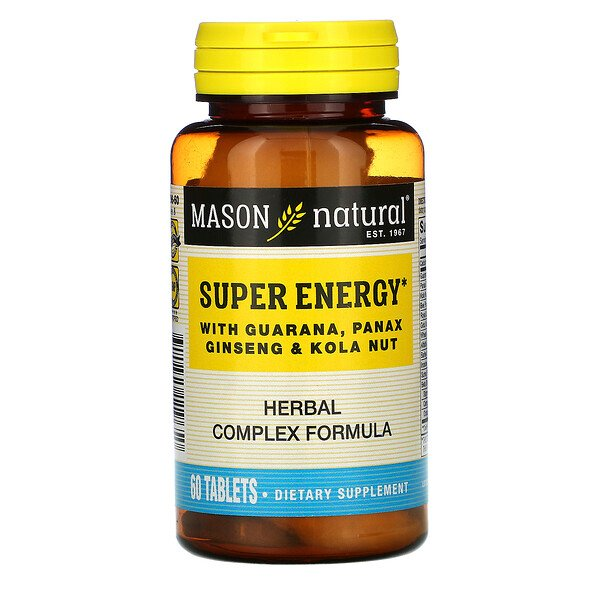 Mason Natural, Super Energy with Guarana, Panax Ginseng & Kola Nut, 60 Tablets