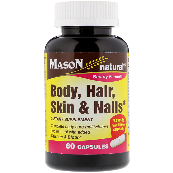 Mason Natural, Body, Hair, Skin & Nails, 60 Capsules