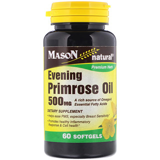 Mason Natural, Evening Primrose Oil, 500 mg, 60 Softgels