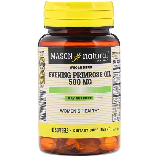 Mason Natural, 月見草オイル、500 mg、60ソフトジェル (Discontinued Item)