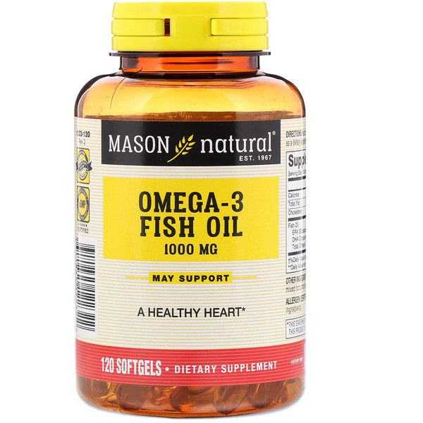 Mason Natural, Omega-3 Fish Oil, 1000 mg, 120 Softgels