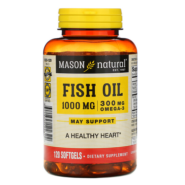 Mason Natural, Fish Oil, 1,000 mg, 120 Softgels