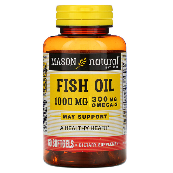 Mason Natural, Omega-3 Fish Oil, 1,000 mg, 60 Softgels