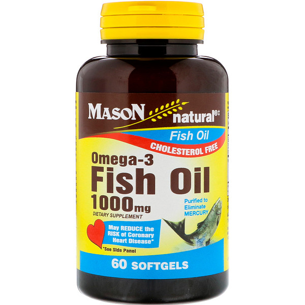 Mason Natural, Omega - 3魚油,1000毫克,60粒軟膠囊