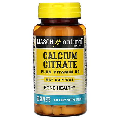 Купить Mason Natural Цитрат кальция с витамином D3, 60 капсуловидных таблеток