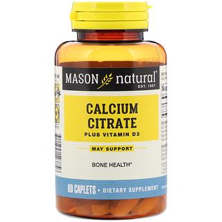 Mason Natural, 檸檬酸鈣,含維生素D3,60錠囊片