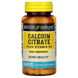 Mason Natural, Citrate de calcium avec vitamine D3, 60 Gélules