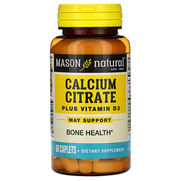 Mason Natural, Calcium Citrate Plus Vitamin D3, 60 Caplets