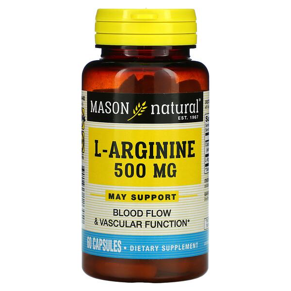 L-Arginine, 500 mg, 60 Capsules