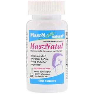 Mason Natural, MasoNatal Multivitamin / Multimineral Supplement, 100 Tablets