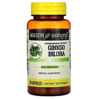 Купить Mason Natural Ginkgo Biloba, Standardized Extract, 60 Capsules