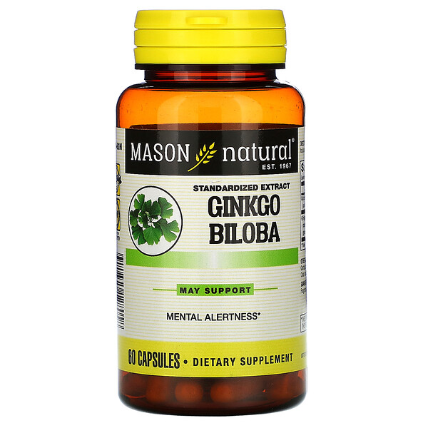 Ginkgo Biloba, Standardized Extract, 60 Capsules