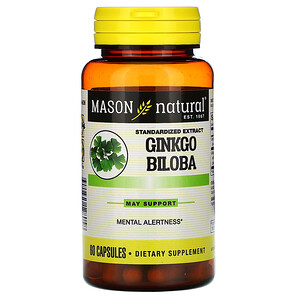 Масон Натуралс, Ginkgo Biloba, Standardized Extract, 60 Capsules отзывы покупателей