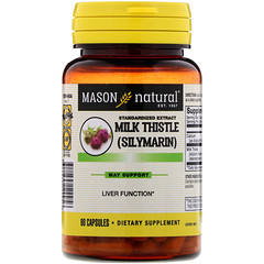 Mason Natural, Milk Thistle (Silymarin), Standardized Extract, 60 Capsules