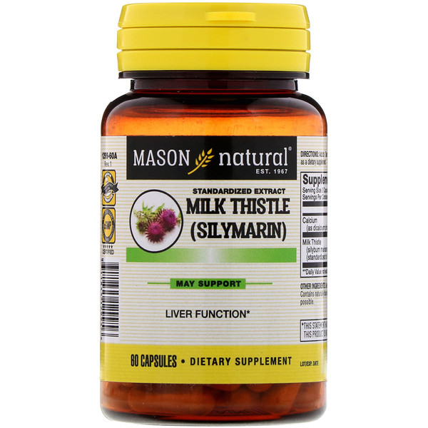 Mason Natural, Standardized Extract Milk Thistle (Silymarin), 60 Capsules