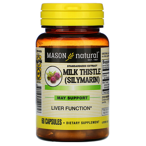 Milk Thistle (Silymarin), Standardized Extract, 60 Capsules