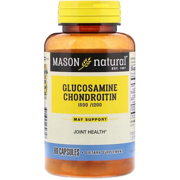 Mason Natural, 雙倍強度氨基葡萄糖軟骨素,60粒
