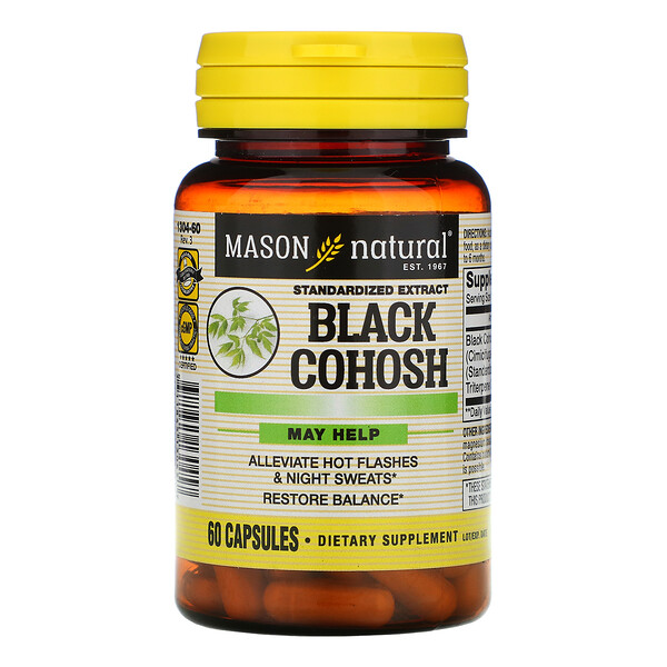 Mason Natural, Black Cohosh, Standardized Extract, 60 Capsules
