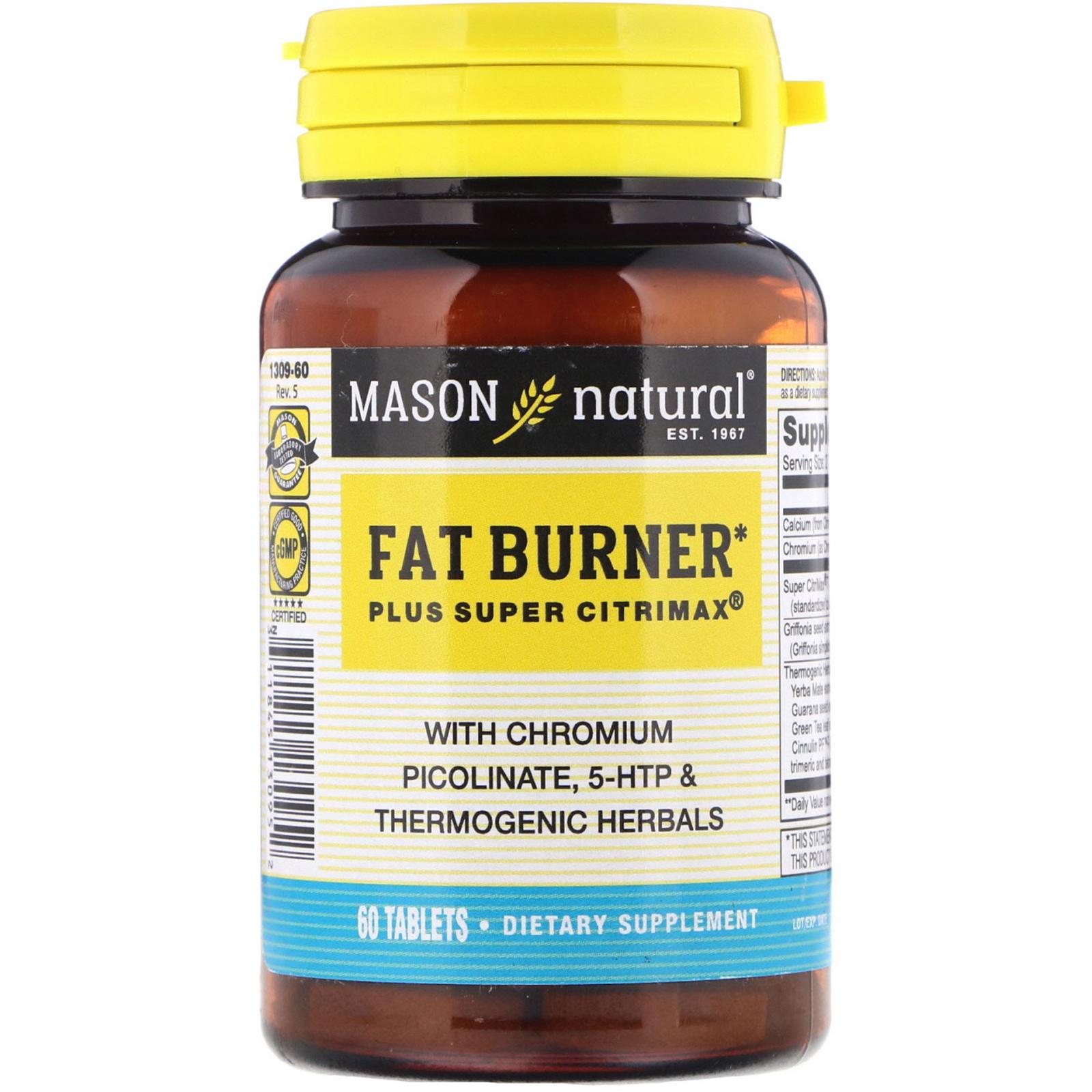 Mason Natural Fat Burner Plus Super Citrimax 60 Tablets Iherb Com