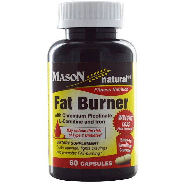 Mason Natural, Fat Burner  with Chromium Picolinate, L-Carnitine and Iron, 60 Capsules