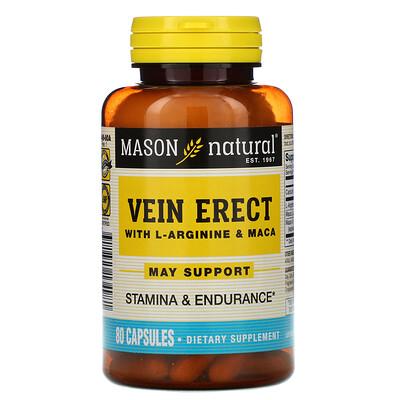 Mason Natural Vein Erect with L-Arginine  Maca, 80 Capsules