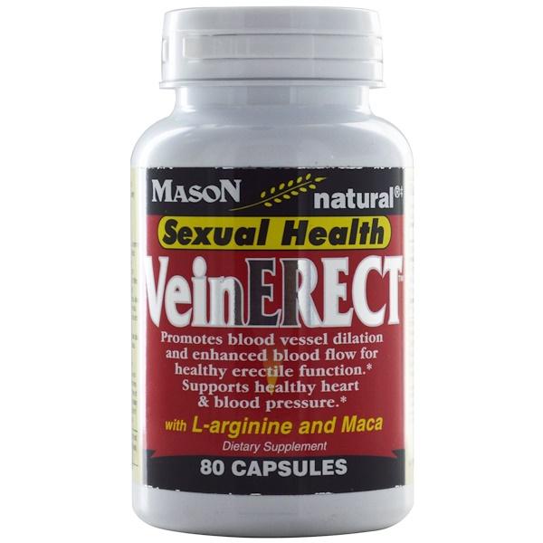 Mason Natural, Vein Erect with L-Arginine and Maca, 80 Capsules