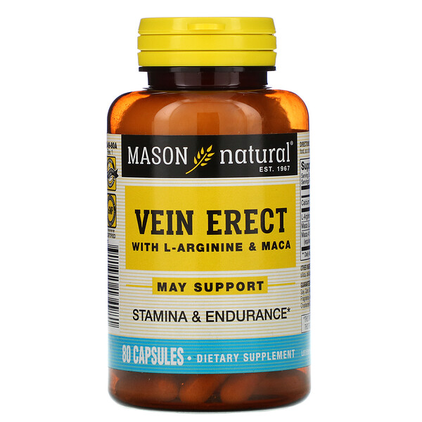 Mason Natural, Vein Erect with L-Arginine & Maca, 80 Capsules