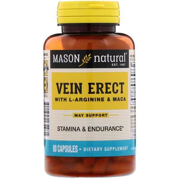 Mason Natural, Vein Erect with L-Arginine and Maca, 80 Capsules