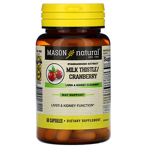 Масон Натуралс, Milk Thistle/Cranberry, Standardized Extract, Liver & Kidney Cleanser, 60 Capsules отзывы покупателей