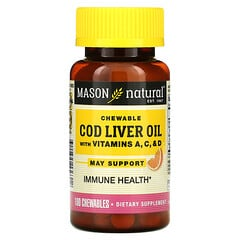 Mason Natural, 鱈魚肝油咀嚼片,含維生素 A、C 和 D,橙味,100 片咀嚼片