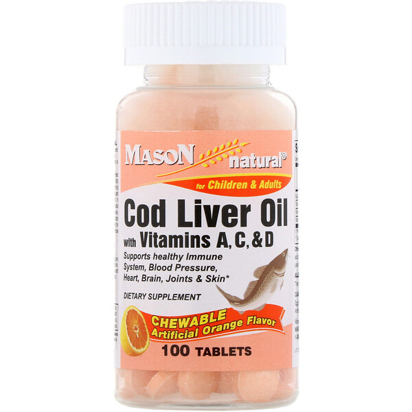 Mason Natural, Chewable Cod Liver Oil, with Vitamins A, C, & D, Artificial Orange Flavor, 100 Tablets