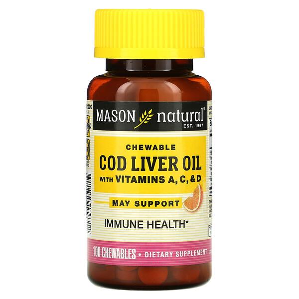 Chewable Cod Liver Oil with Vitamins A, C, & D, Orange, 100 Chewables