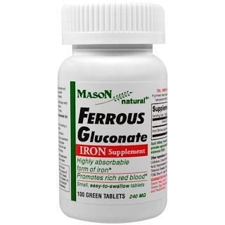 Mason Natural, Ferrous Gluconate, Iron, 100 Green Tablets
