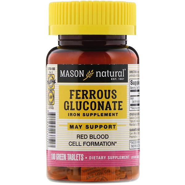 Mason Natural, Ferrous Gluconate, 100 Tablets