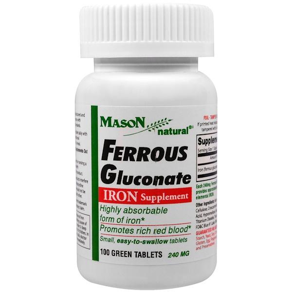 Mason Natural, 葡萄糖酸亞鐵,鐵,100粒綠片