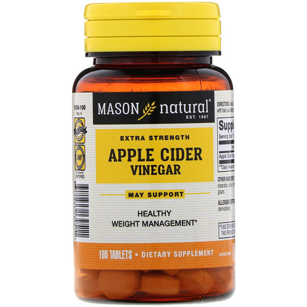 Mason Natural, Extra Strength Apple Cider Vinegar, 100 Tablets