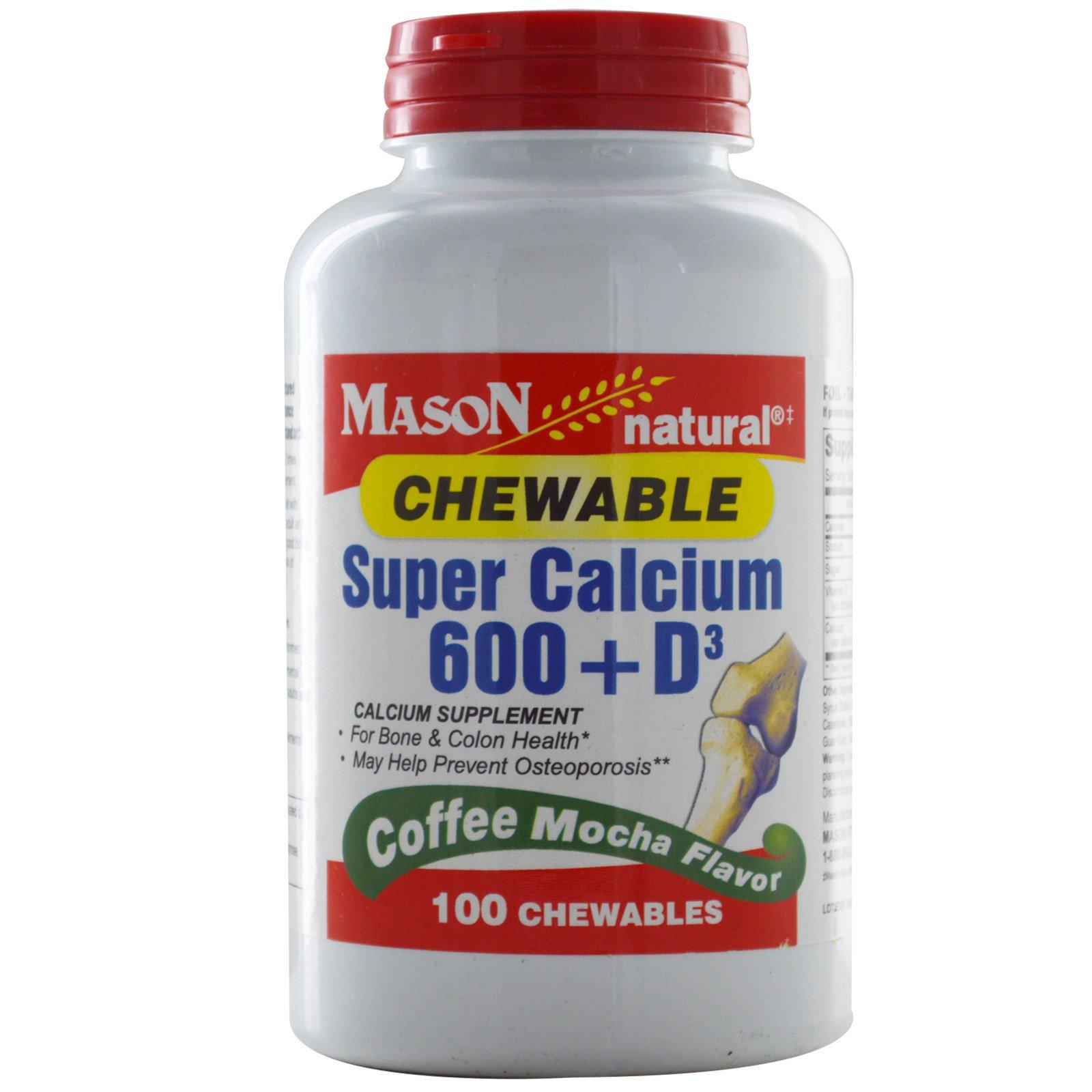 Mason Naturals, Супер кальций 600 + D3, жевательные таблетки, со вкусом кофе мокко, 100 жевательных таблеток