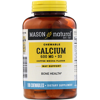 Mason Natural, Chewable Calcium + D3, Coffee Mocha Flavor, 600 mg, 100 Chewables