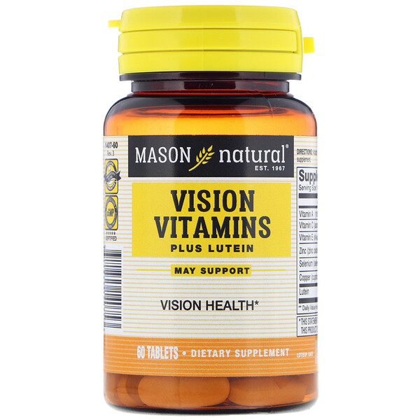 Mason Natural, Vision Vitamins Plus Lutein, 60 Tablets