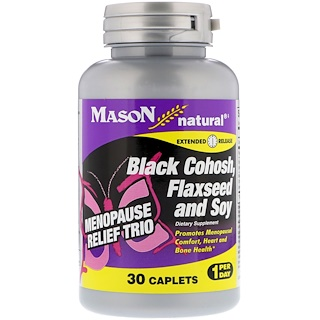 Mason Natural, 更年期緩和トリオ、ブラックコホッシュ、亜麻の種と大豆、30カプレット