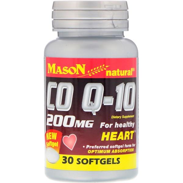 Mason Natural, 輔酶Q-10,200毫克,30粒軟膠囊