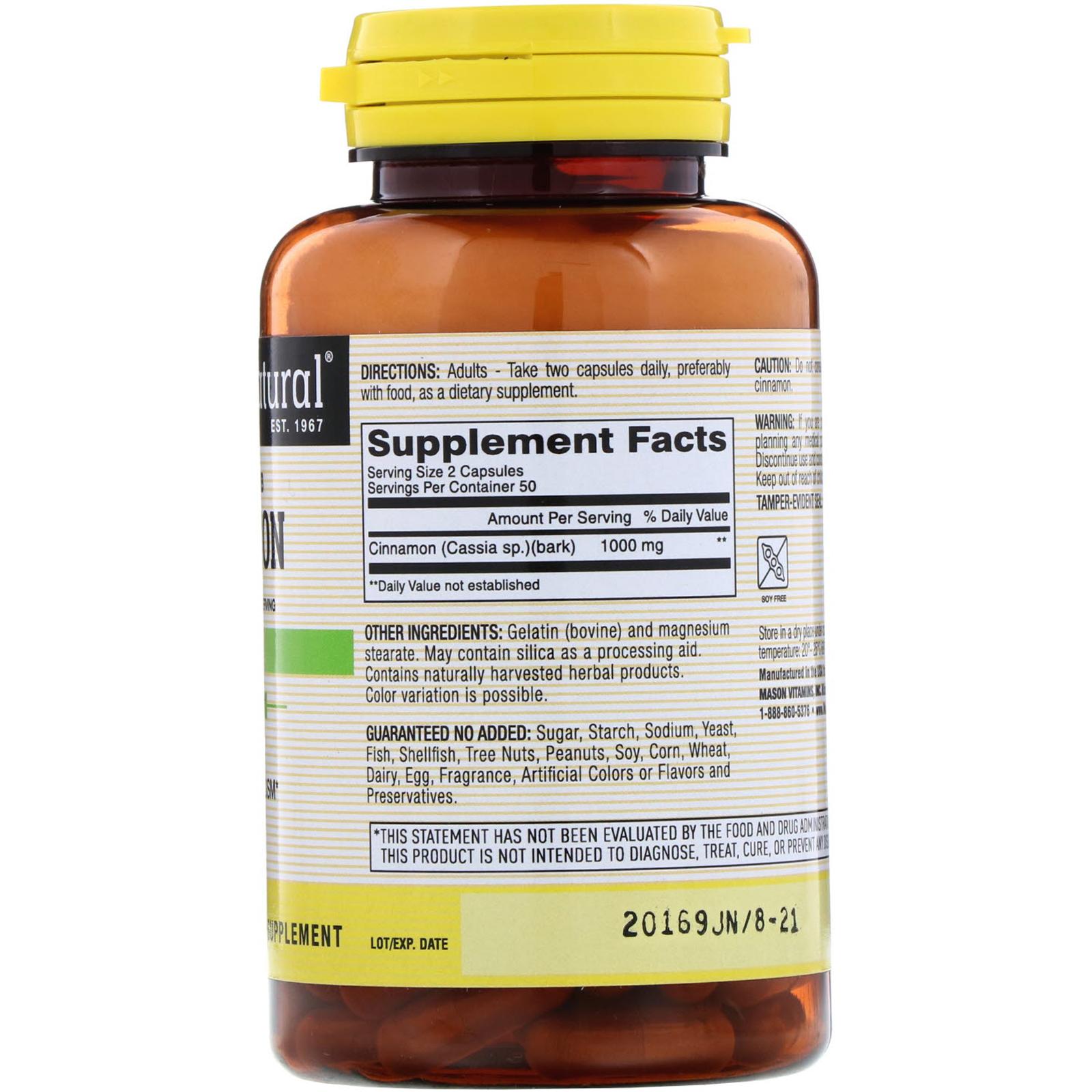 Mason Natural, Cinnamon, 1000 mg, 100 Capsules - iHerb com