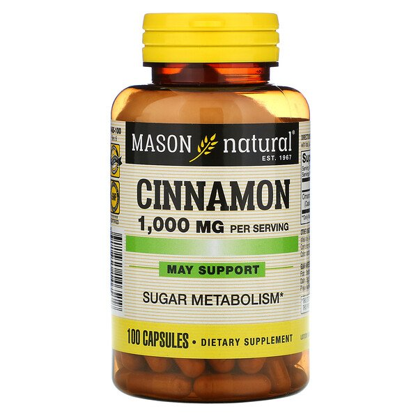 Mason Natural, Cinnamon, 1000 mg, 100 Capsules