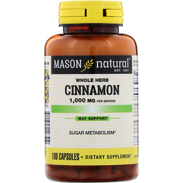 Mason Natural, Canela, 1000 mg, 100 cápsulas